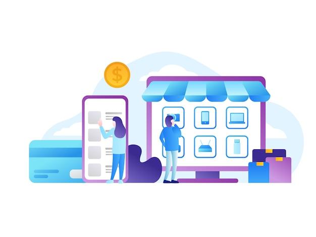 Online winkel vectorillustratie