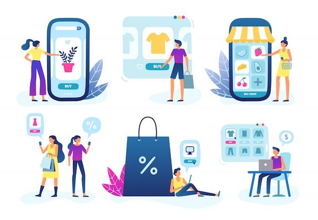 Online winkel. webwinkelbedrijf, klantenserviceservice en kopen en verkopen via internet