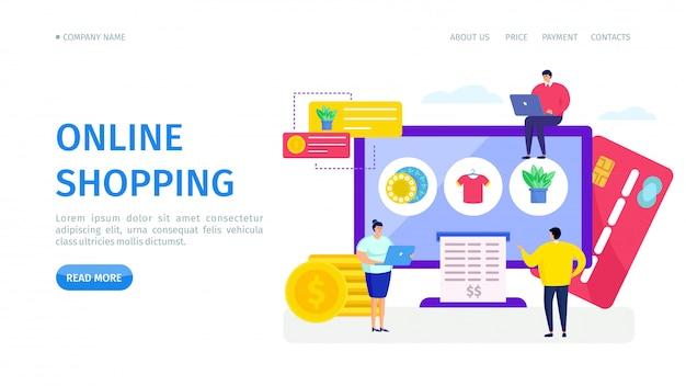 Online winkel winkel landing, illustratie. internetaankooptoepassing op computer, productpictogram op scherm. cliënt