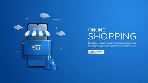 Online winkelachtergrond voor website of mobiele app