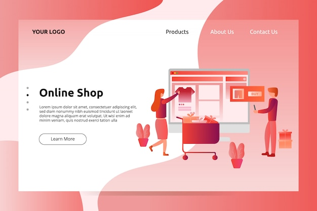 Online winkelbanner en afbeelding van bestemmingspagina