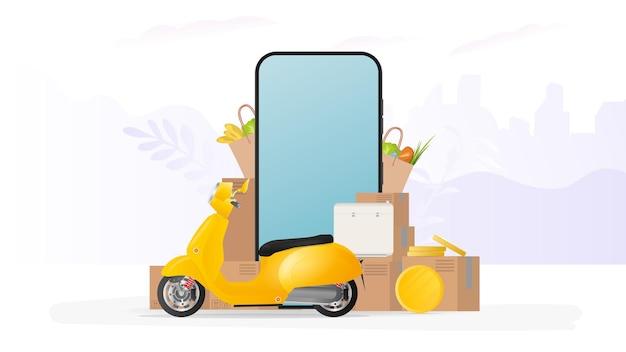 Online winkelbanner. gele scooter met voedselplank, telefoon, gouden munten, kartonnen dozen, papieren boodschappentas. online eten bestellen en bezorgen en bezorgen concept.
