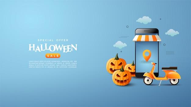 Online winkelbanner met halloween-thema.