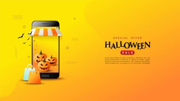 Online winkelbanner met smartphone en pompoenillustraties.