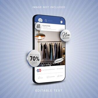 Online winkelbanner op mobiele app voor sociale media