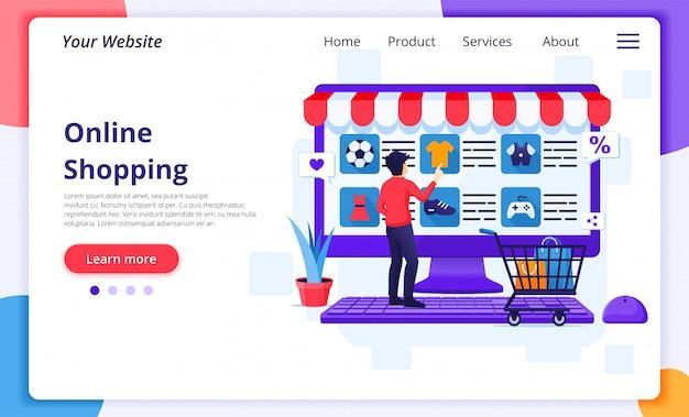 Online winkelconcept, een man kiest en koopt producten in de online winkel.