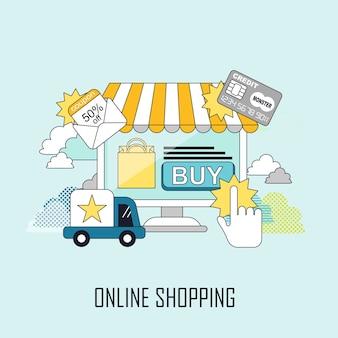 Online winkelconcept: een virtuele winkel en vrachtwagen in lijnstijl