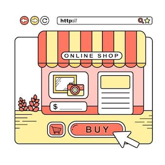 Online winkelconcept: een virtuele winkel op webpagina in lijnstijl