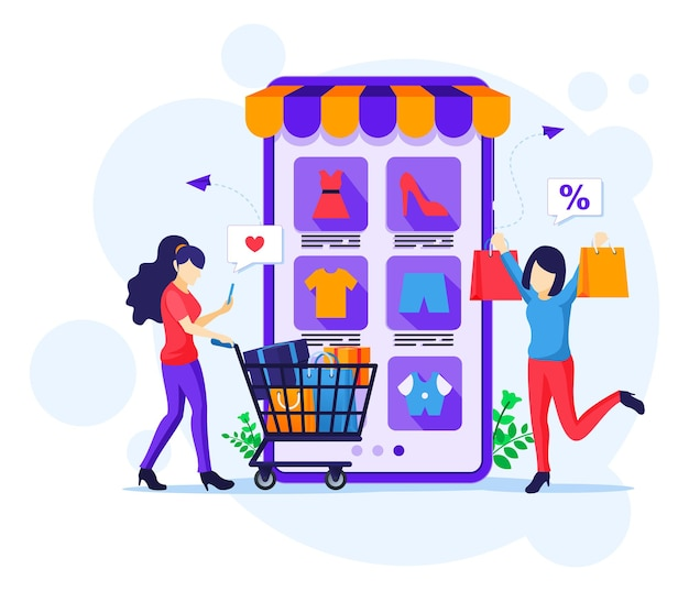 Online winkelconcept. gelukkige jonge vrouwen die producten in online toepassingswinkel kopen