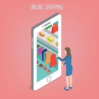 Online winkelconcept in isometrische stijl. vrouw met slimme telefoon