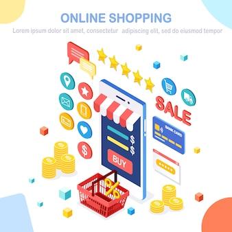 Online winkelconcept. koop in de winkel via internet. korting verkoop. isometrische mobiele telefoon, smartphone met geld, creditcard, klantrecensie, feedback, tas, mand.