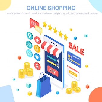 Online winkelconcept. koop in de winkel via internet. korting verkoop. isometrische mobiele telefoon, smartphone met geld, creditcard, klantrecensie, feedback, tas, pakket. voor banner