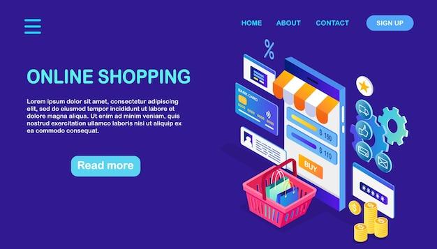 Online winkelconcept. koop in de winkel via internet kortingsverkoop isometrische telefoon, geld, mand