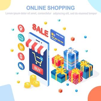 Online winkelconcept. koop in de winkel via internet.