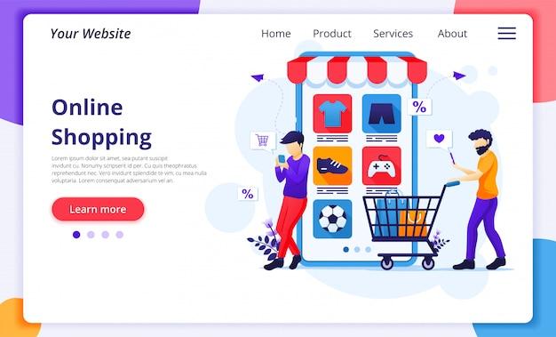 Online winkelconcept, mensen met winkelwagen kopen van producten in de mobiele applicatie winkel.