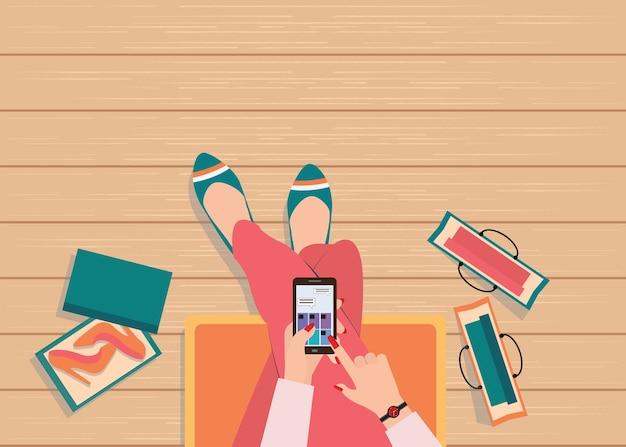 Online winkelconcept met behulp van slimme telefoon