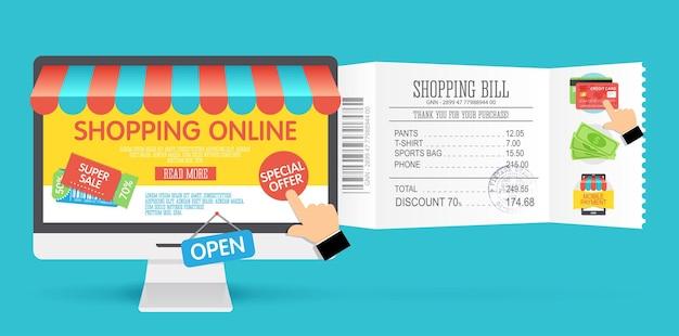 Online winkelconcept met computermonitor en pictogrammen