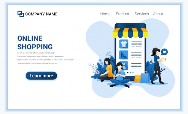 Online winkelconcept met gigantische mobiele winkelproducten en vrouwelijke personages.