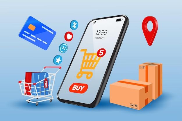 Online winkelconcept met illustraties van mobiele telefoons en boodschappentassen