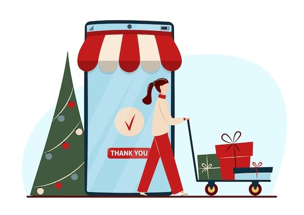 Online winkelconcept met karakters. mobiele telefoon, versierde kerstboom en vrouw met geschenkdozen.