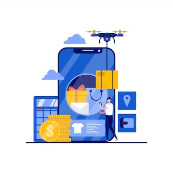 Online winkelconcept op mobiel applicatiescherm met karakter. digitale marketing, e-commerce, bezorgservice. moderne vlakke stijl voor bestemmingspagina, mobiele app, poster, infographics, heldenafbeeldingen.