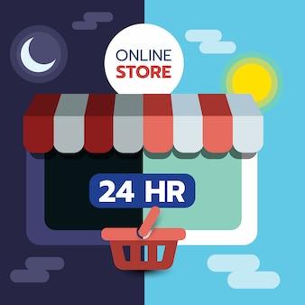 Online winkelconcept op tablet pc-scherm, open 24 uur, e-commerce.