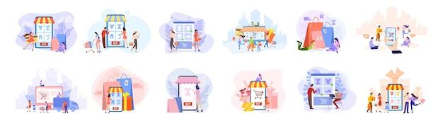 Online winkelconcept set. e-commerce, klant in de uitverkoop. app op mobiele telefoon en computer. illustratie in stijl
