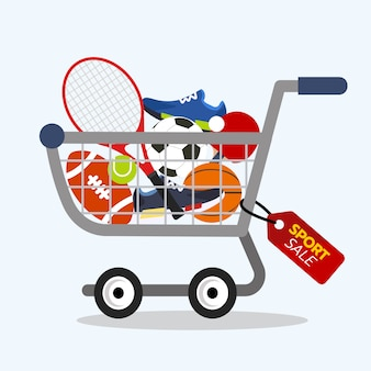 Online winkelconcept. sportuitrusting te koop met winkelwagen.