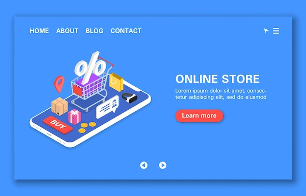 Online winkelconcept uurondersteuning kortingen bonussen en geschenken winkelen isometrisch volgen