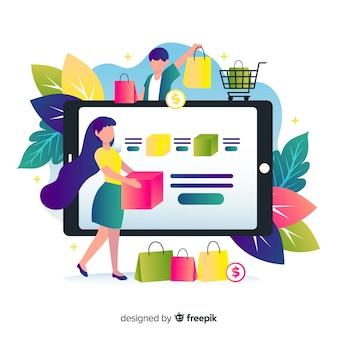 Online winkelconcept voor bestemmingspagina