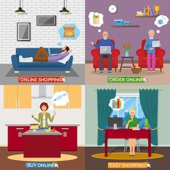 Online winkelen 2x2 platte ontwerpconcept