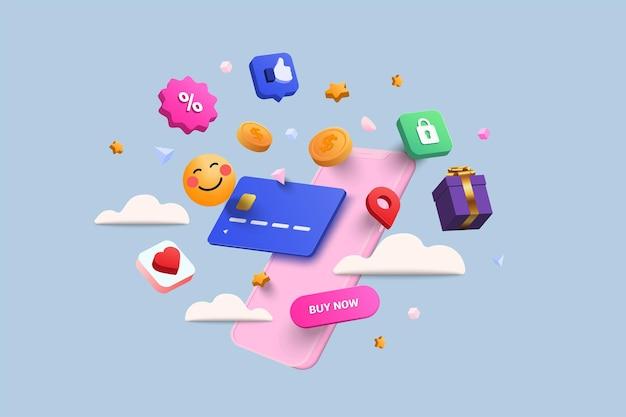 Online winkelen 3d illustratie, online winkel, online betalings- en leveringsconcept met zwevende elementen. verkoopbanner, geschenkdoos, korting, sociale reclame. 3d vectorillustratie.