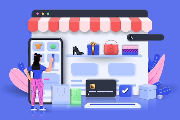 Online winkelen 3d illustratie, online winkel, online betalingsconcept met zwevende elementen. kortingsbannerontwerp met 3d-rendering. vectorillustratie.