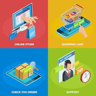 Online winkelen 4 isometrisch pictogrammen vierkant