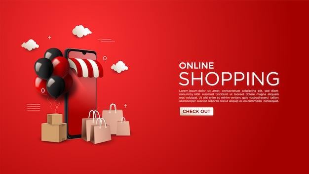Online winkelen achtergrond digitale markt op de website of mobiele app