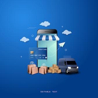 Online winkelen achtergrond, met auto en smartphone op blauwe achtergrond.