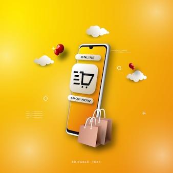 Online winkelen achtergrond, met een smartphone op een gele achtergrond.