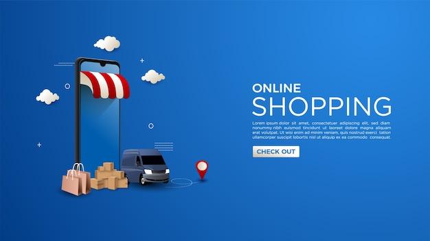 Online winkelen achtergrond met het concept van online levering