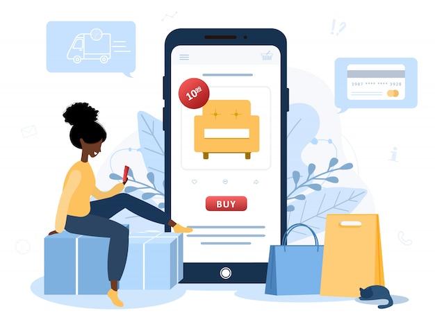 Online winkelen. afrikaanse vrouwenwinkel bij een online opslagzitting op vloer. de productcatalogus op de webbrowserpagina. boodschappendozen. blijf thuis achtergrond. quarantaine of zelfisolatie. vlakke stijl.