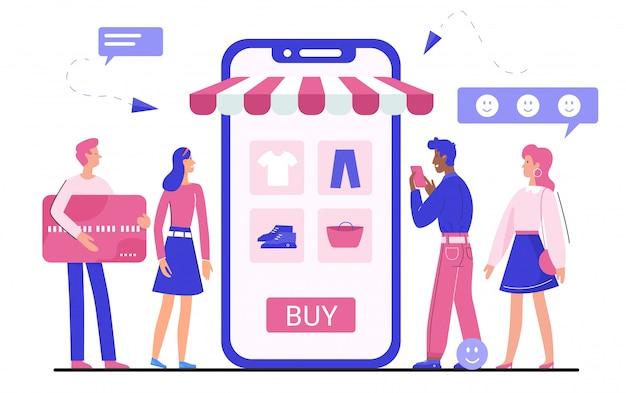 Online winkelen applicatie illustratie, kleine man vrouw koper stripfiguren kleding, accessoires op wit kopen