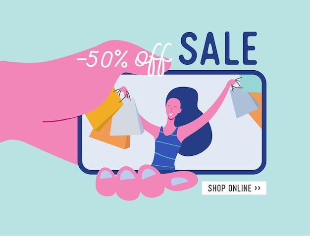 Online winkelen banner, concept verkoop mobiele app sjabloon met vrouw karakter, speciale aanbieding poster, black friday-concept plat ontwerp