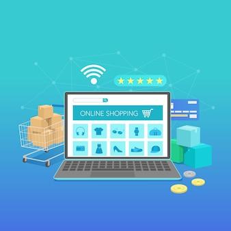 Online winkelen banner met laptop, platte conceptontwerp