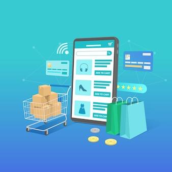 Online winkelen banner, sjablonen voor mobiele apps, platte conceptontwerp