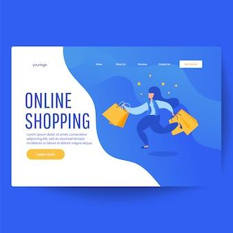 Online winkelen banner van vrouw met boodschappentassen met aankopen.