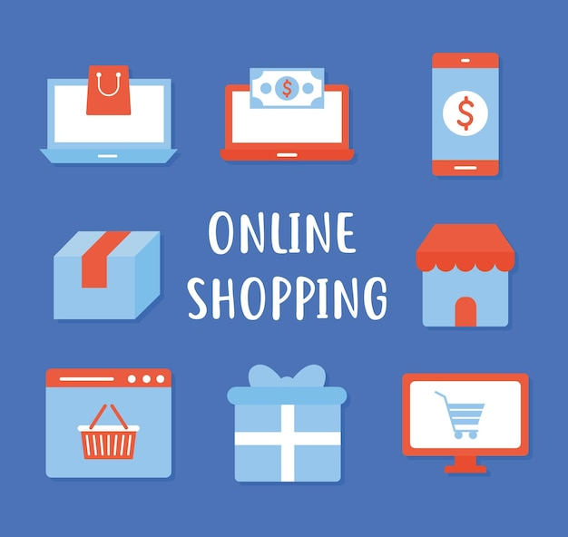 Online winkelen belettering en set van pictogrammen voor online winkelen