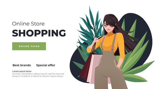 Online winkelen bestemmingspagina en banner meisje met winkelpakketten geschenken