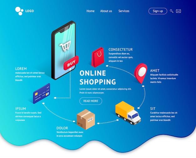 Online winkelen bestemmingspagina isometrisch concept. moderne webdesign sjabloon online internetwinkel. illustratie met smartphone, isometrische pictogrammen, blauwe achtergrond met kleurovergang