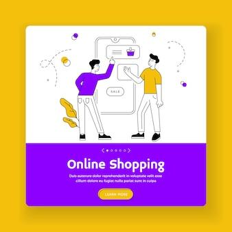Online winkelen bestemmingspagina-sjabloon voor spandoek. mannelijke vrienden merchandises selecteren en aankopen doen op smartphone terwijl ze samen online winkelen tijdens de verkoop