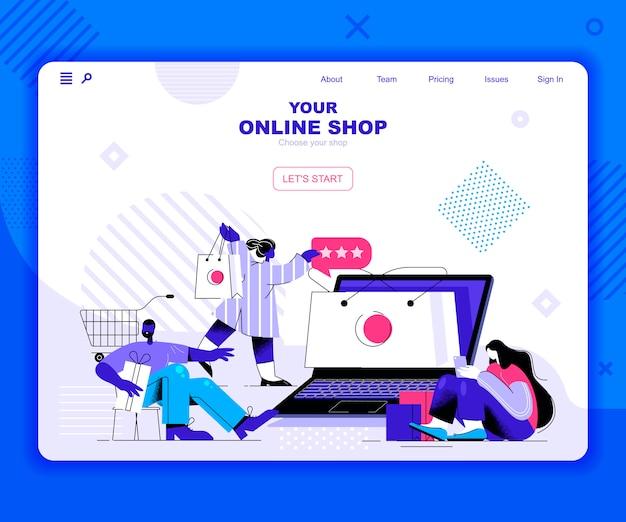 Online winkelen bestemmingspagina sjabloon