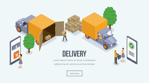 Online winkelen, bezorgen, vrachtwagen. verschepend voertuig, koerier die pakket geven aan klanten 3d concept